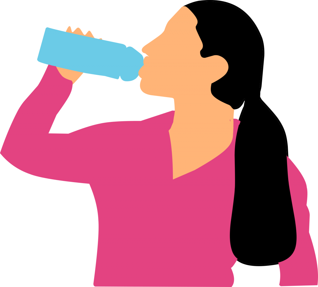 drinking, water, woman